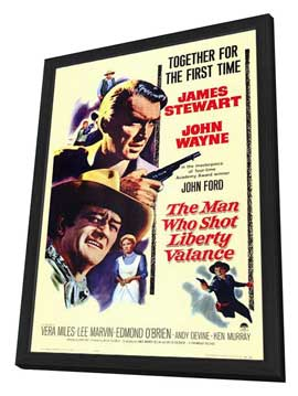Man Who Shot Liberty Valance, The - 11 x 17 Movie Poster - Style A - in Deluxe Wood Frame