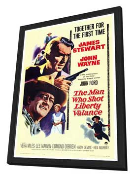 Man Who Shot Liberty Valance, The - 27 x 40 Movie Poster - Style A - in Deluxe Wood Frame