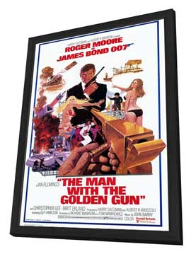 The Man with the Golden Gun - 11 x 17 Movie Poster - Style B - in Deluxe Wood Frame