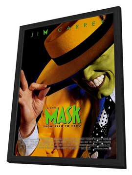 The Mask - 27 x 40 Movie Poster - Style A - in Deluxe Wood Frame