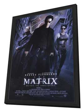 The Matrix - 27 x 40 Movie Poster - Style B - in Deluxe Wood Frame