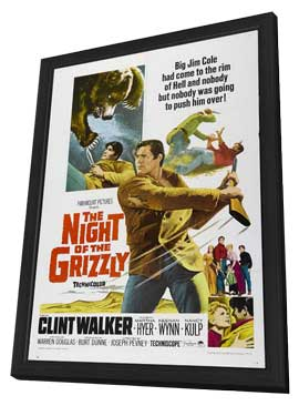 Night of the Grizzly - 11 x 17 Movie Poster - Style A - in Deluxe Wood Frame
