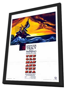 The Old Man and the Sea - 27 x 40 Movie Poster - Style A - in Deluxe Wood Frame