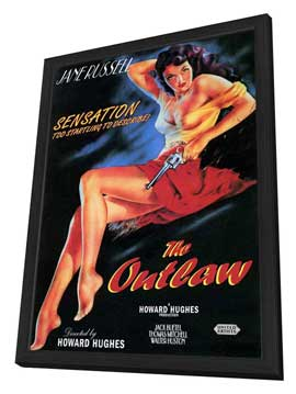 The Outlaw - 27 x 40 Movie Poster - Style D - in Deluxe Wood Frame