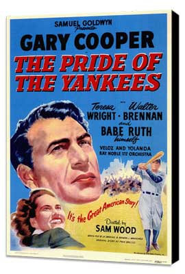 The Pride of the Yankees - 27 x 40 Movie Poster - Style A - Museum Wrapped Canvas