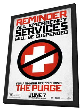 The Purge - 27 x 40 Movie Poster - Style A - in Deluxe Wood Frame