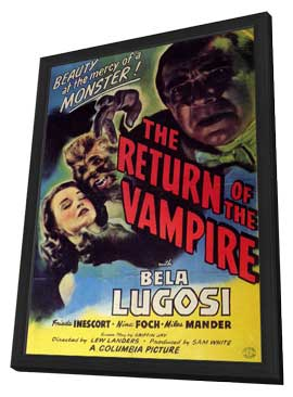 The Return of the Vampire - 11 x 17 Movie Poster - Style B - in Deluxe Wood Frame