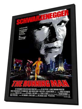 The Running Man - 11 x 17 Movie Poster - Style C - in Deluxe Wood Frame