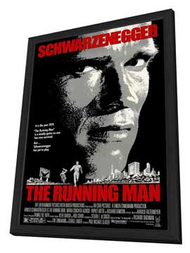 The Running Man - 27 x 40 Movie Poster - Style A - in Deluxe Wood Frame