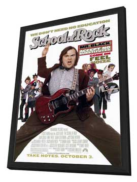 The School of Rock - 27 x 40 Movie Poster - Style A - in Deluxe Wood Frame