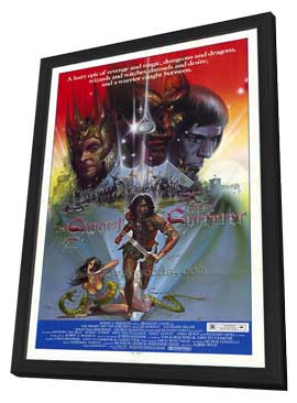 Sword and the Sorcerer - 27 x 40 Movie Poster - Style B - in Deluxe Wood Frame