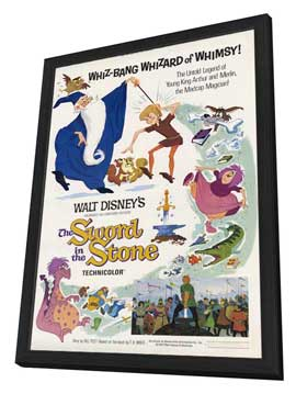 Sword in the Stone, The - 11 x 17 Movie Poster - Style D - in Deluxe Wood Frame