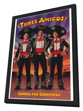 Three Amigos - 11 x 17 Movie Poster - Style B - in Deluxe Wood Frame
