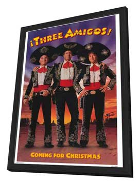 Three Amigos - 27 x 40 Movie Poster - Style B - in Deluxe Wood Frame