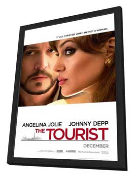 The Tourist - 27 x 40 Movie Poster - Style A - in Deluxe Wood Frame