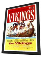 The Vikings - 27 x 40 Movie Poster - Style A - in Deluxe Wood Frame