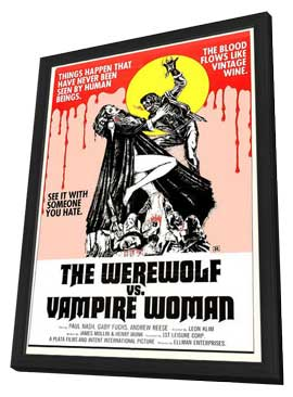 The Werewolf Versus Vampire Women - 11 x 17 Movie Poster - Style A - in Deluxe Wood Frame