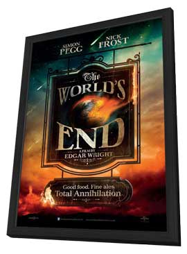 The World's End - 11 x 17 Movie Poster - UK Style A - in Deluxe Wood Frame