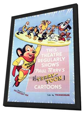 This Theater Regularly Shows Paul Terry's Terrytoon Cartoons - 27 x 40 Movie Poster - Style A - in Deluxe Wood Frame