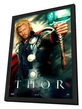 Thor - 11 x 17 Movie Poster - Style B - in Deluxe Wood Frame
