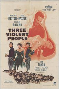 Three Violent People - 27 x 40 Movie Poster - Style A