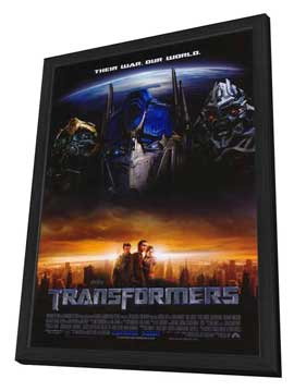Transformers - 27 x 40 Movie Poster - Style G - in Deluxe Wood Frame