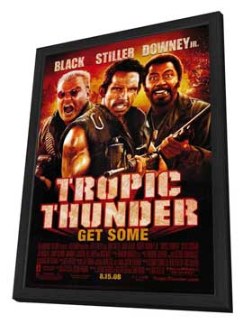 Tropic Thunder - 27 x 40 Movie Poster - Style D - in Deluxe Wood Frame