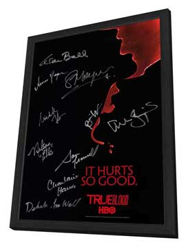 True Blood (TV) Season 2 - 13.5 x 20 TV Poster - Cast Signatures - Style A - in Deluxe Wood Frame