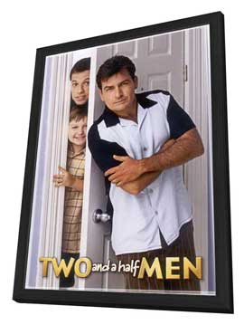 Two and a Half Men - 11 x 17 TV Poster - Style E - in Deluxe Wood Frame