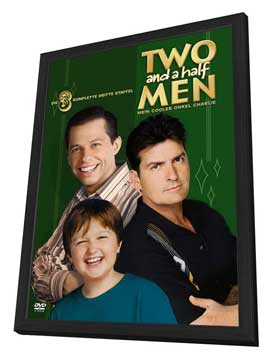Two and a Half Men - 27 x 40 Movie Poster - German Style A - in Deluxe Wood Frame