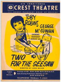 Two For the Seesaw (Play) - 27 x 40 Movie Poster - Style A