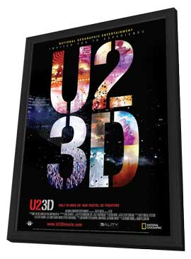 U2 3D - 11 x 17 Movie Poster - Swiss Style A - in Deluxe Wood Frame