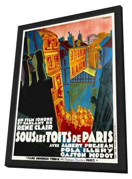 Under the Roofs of Paris - 11 x 17 Movie Poster - French Style A - in Deluxe Wood Frame