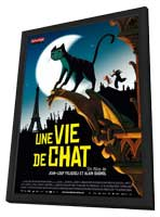 Une vie de chat - 27 x 40 Movie Poster - French Style A - in Deluxe Wood Frame