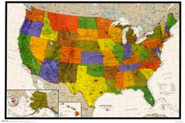 United States Map - 22 x 33 Poster - Style A