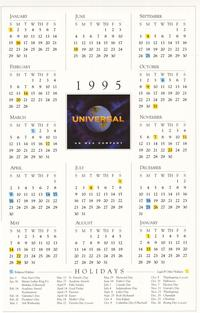 Universal Calendar - 11 x 17 Movie Poster - Style A