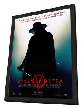 V for Vendetta - 11 x 17 Movie Poster - Style A - in Deluxe Wood Frame