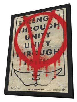 V for Vendetta - 11 x 17 Movie Poster - Style M - in Deluxe Wood Frame