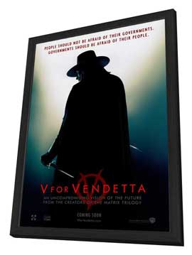 V for Vendetta - 27 x 40 Movie Poster - Style A - in Deluxe Wood Frame