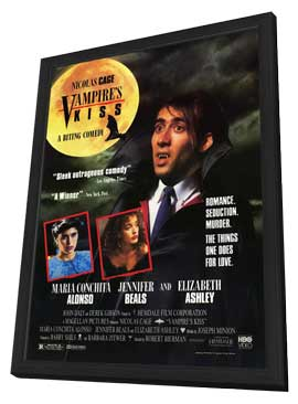 Vampire's Kiss - 27 x 40 Movie Poster - Style A - in Deluxe Wood Frame