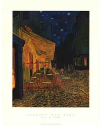Vincent Van Gogh Cafe Terrace At Night - Art Poster - 24 x 36 - Style C