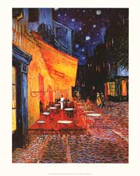 Vincent Van Gogh Cafe Terrace At Night - Art Poster - 22 x 28 - Style A