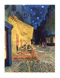 Vincent Van Gogh Cafe Terrace At Night - Art Poster - 11 x 14 - Style A