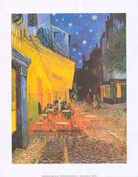 Vincent Van Gogh Cafe Terrace At Night - Art Poster - 16 x 20 - Style A