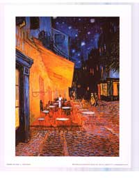 Vincent Van Gogh Cafe Terrace At Night - Art Poster - 11 x 14 - Style C