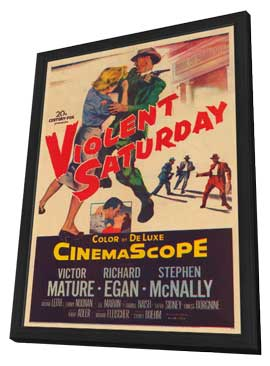 Violent Saturday - 11 x 17 Movie Poster - Style A - in Deluxe Wood Frame