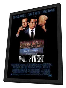 Wall Street - 27 x 40 Movie Poster - Style A - in Deluxe Wood Frame