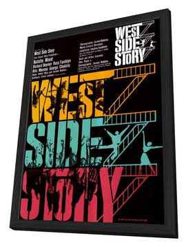 West Side Story - 11 x 17 Movie Poster - German Style A - in Deluxe Wood Frame