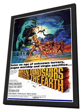 When Dinosaurs Ruled The Earth - 27 x 40 Movie Poster - Style A - in Deluxe Wood Frame