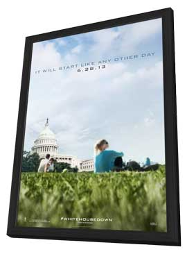 White House Down - 27 x 40 Movie Poster - Style E - in Deluxe Wood Frame